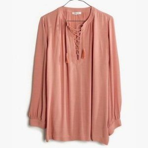 [Madewell] Tassel Tie Front long Sleeve Blouse